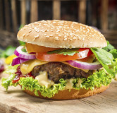 Homemade burger made ​​from fresh vegetables and beef