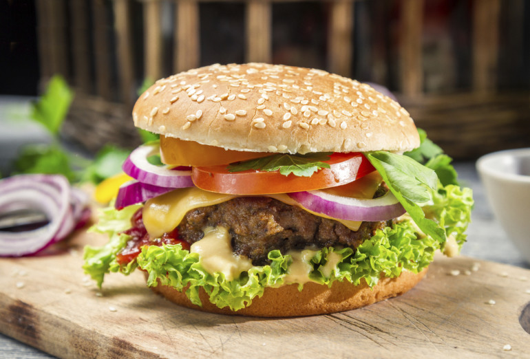 Homemade burger made from fresh vegetables and beef